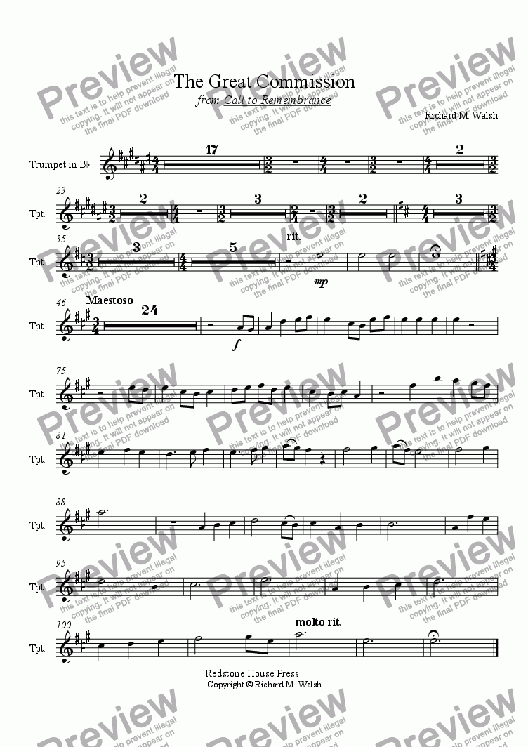 page one of the Trumpet in B-flat part from The Great Commission