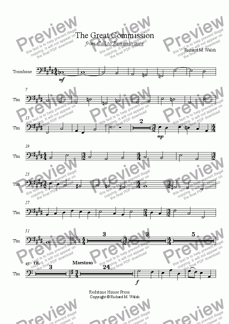 page one of the Trombone part from The Great Commission