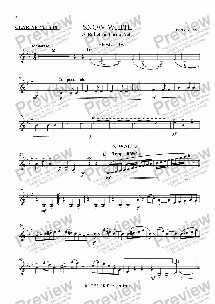 page one of the Clarinet (B flat) 2 part from Ballet: Snow White (Act 1 #2 Jealous Queen)