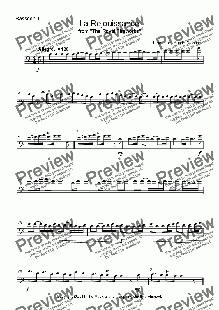 page one of the Bassoon 1 part from La Rejouissance (Fireworks) - bassoon quartet