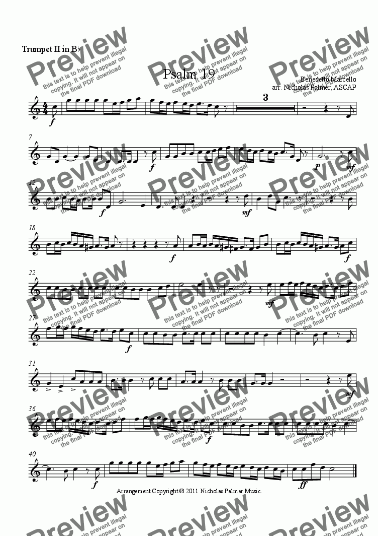 page one of the Trumpet II part from Psalm 19 (Brass Quintet)