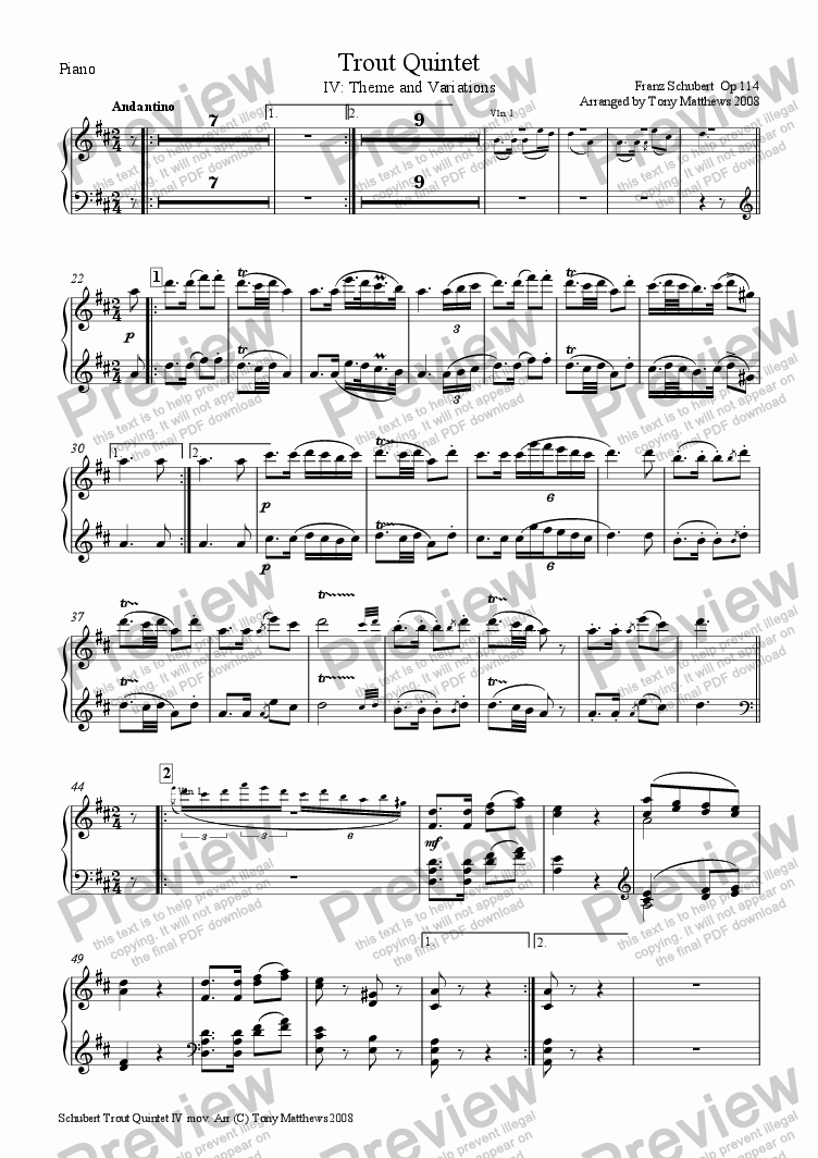 page one of the Piano part from Trout Quintet 4th Movement (Arr for Piano and regular String Quartet)