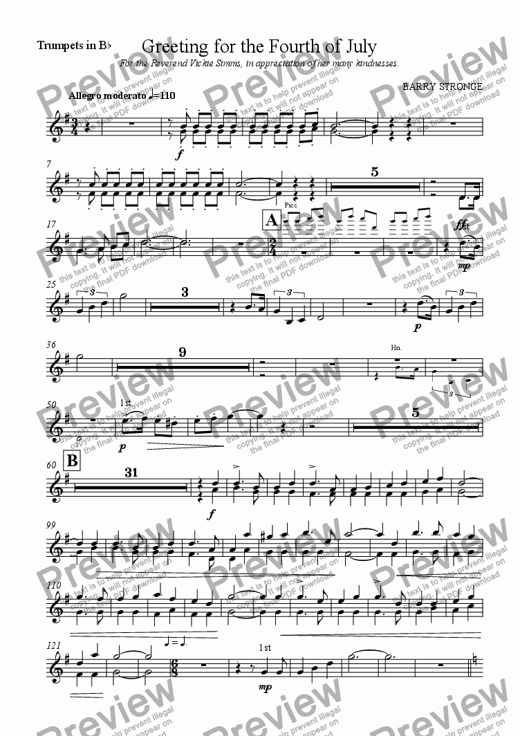 page one of the Trumpets part from Greeting for the Fourth of July