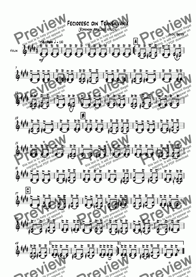 page one of the violin part from Fecioresc din Transilvania (Romanian folklore study))