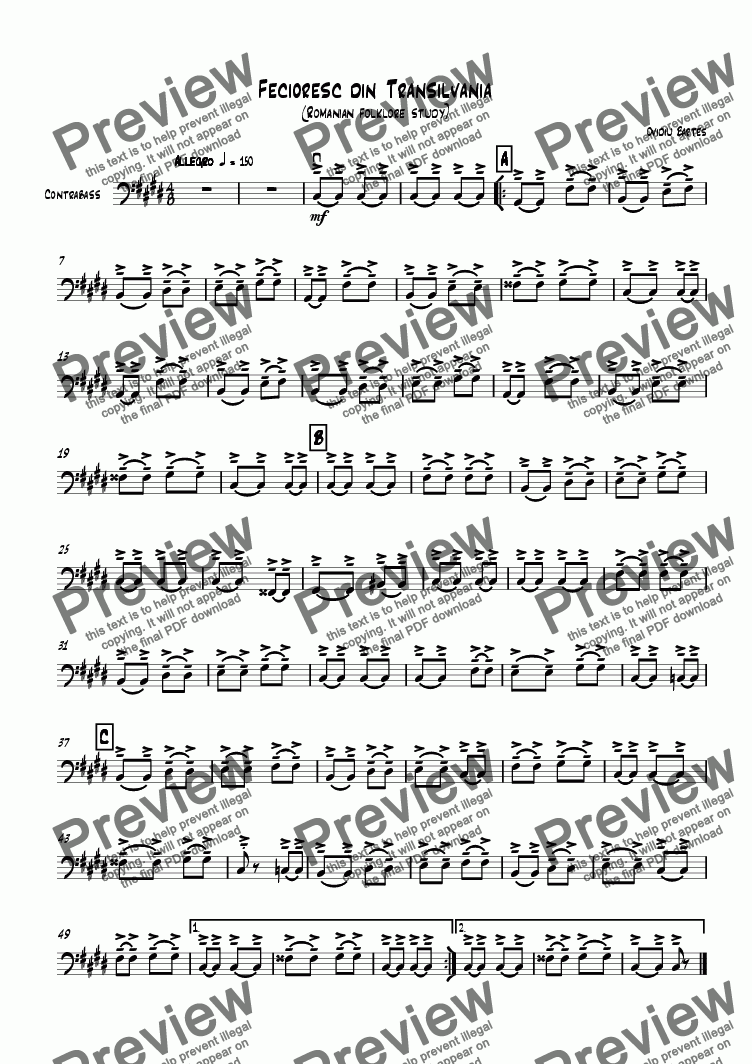 page one of the Contrabass part from Fecioresc din Transilvania (Romanian folklore study))