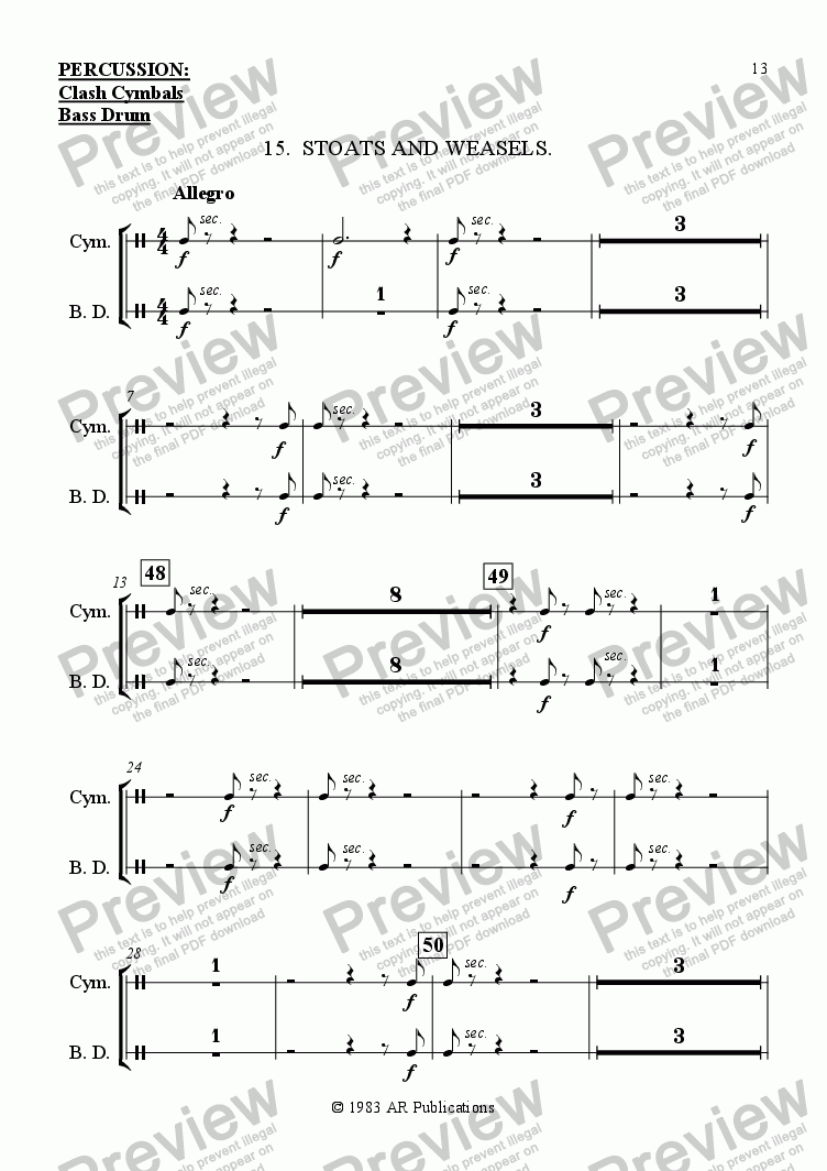 page one of the Percussion part from Ballet: Snow White (Act 2 #4 Stoats & Weasels)