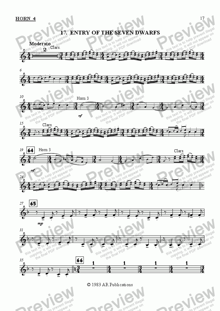 page one of the Horn 4 part from Ballet: Snow White (Act 2 #6 Finale)