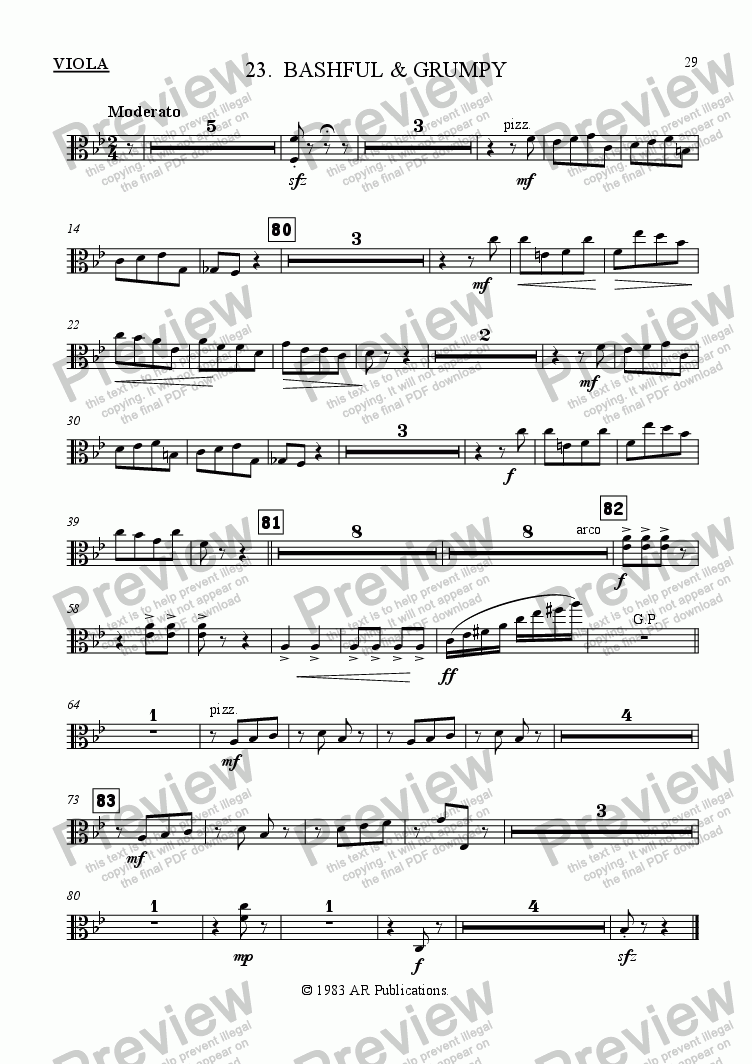 page one of the Viola part from Ballet: Snow White (Act 3 #3 Bashful & Grumpy)