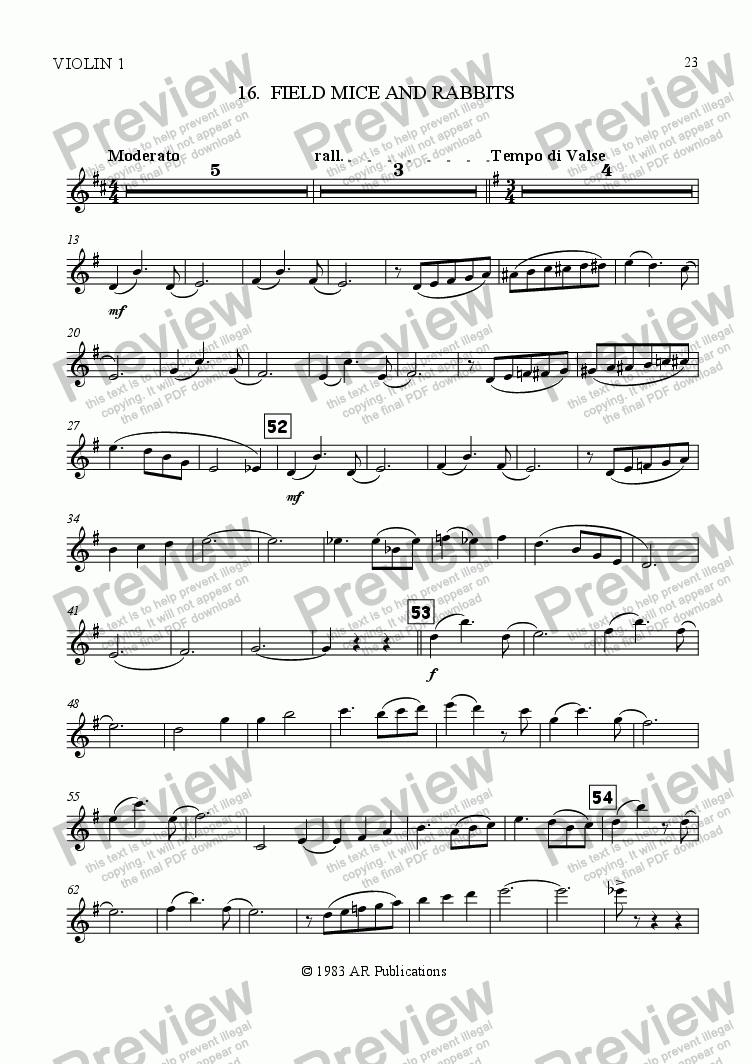 page one of the Vln. 1 part from Ballet: Snow White (Act 2 #5 Mouse Waltz)