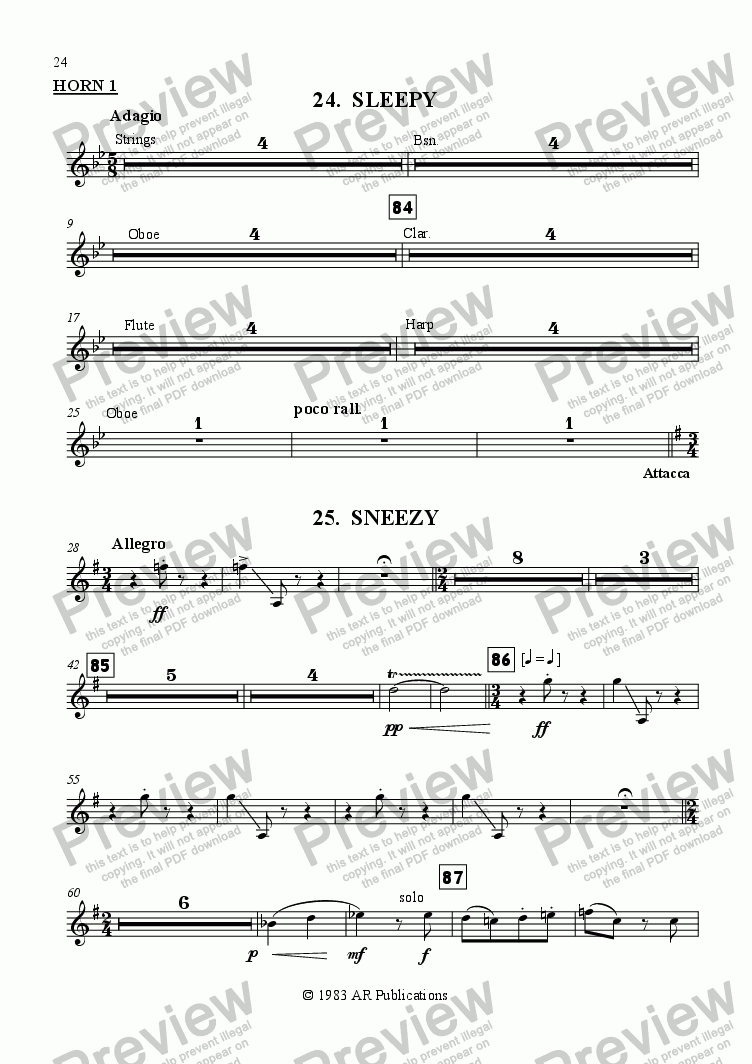 page one of the Horn 1 part from Ballet: Snow White (Act 3 #4 Sleepy & Sneezy)