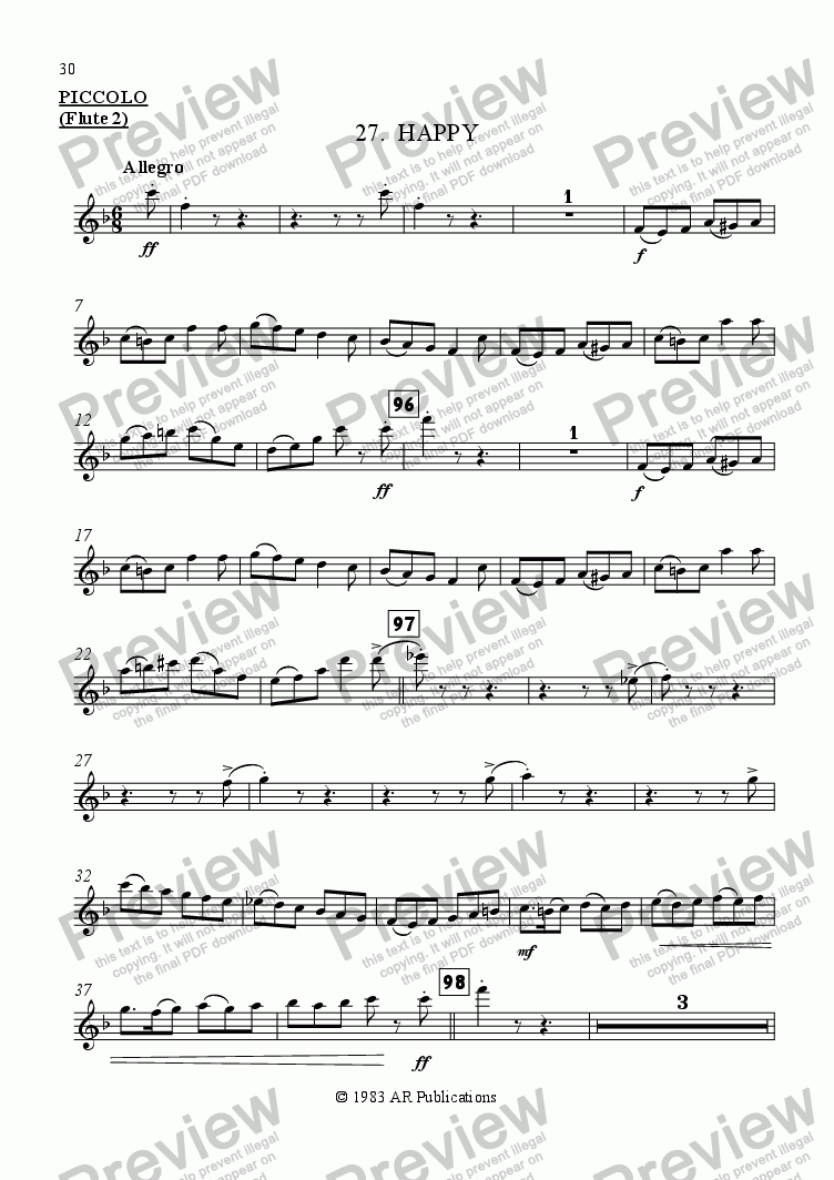 page one of the Flute 2 part from Ballet: Snow White (Act 3 #6  Happy)