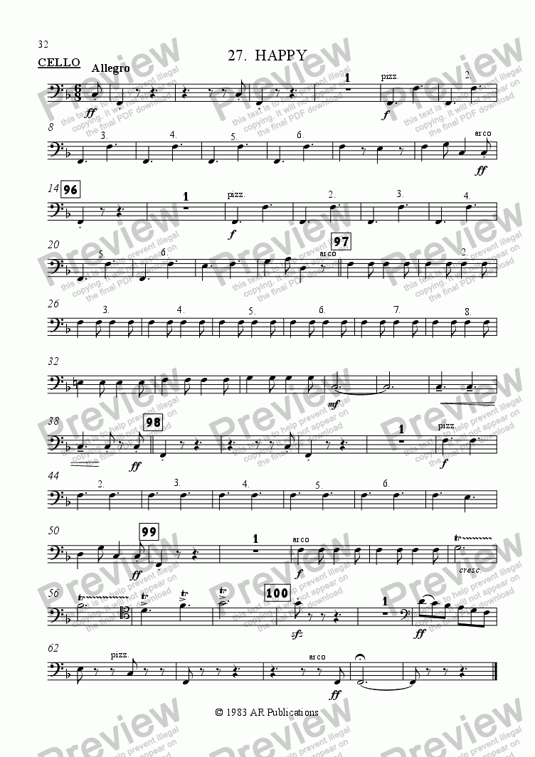 page one of the Cello part from Ballet: Snow White (Act 3 #6  Happy)
