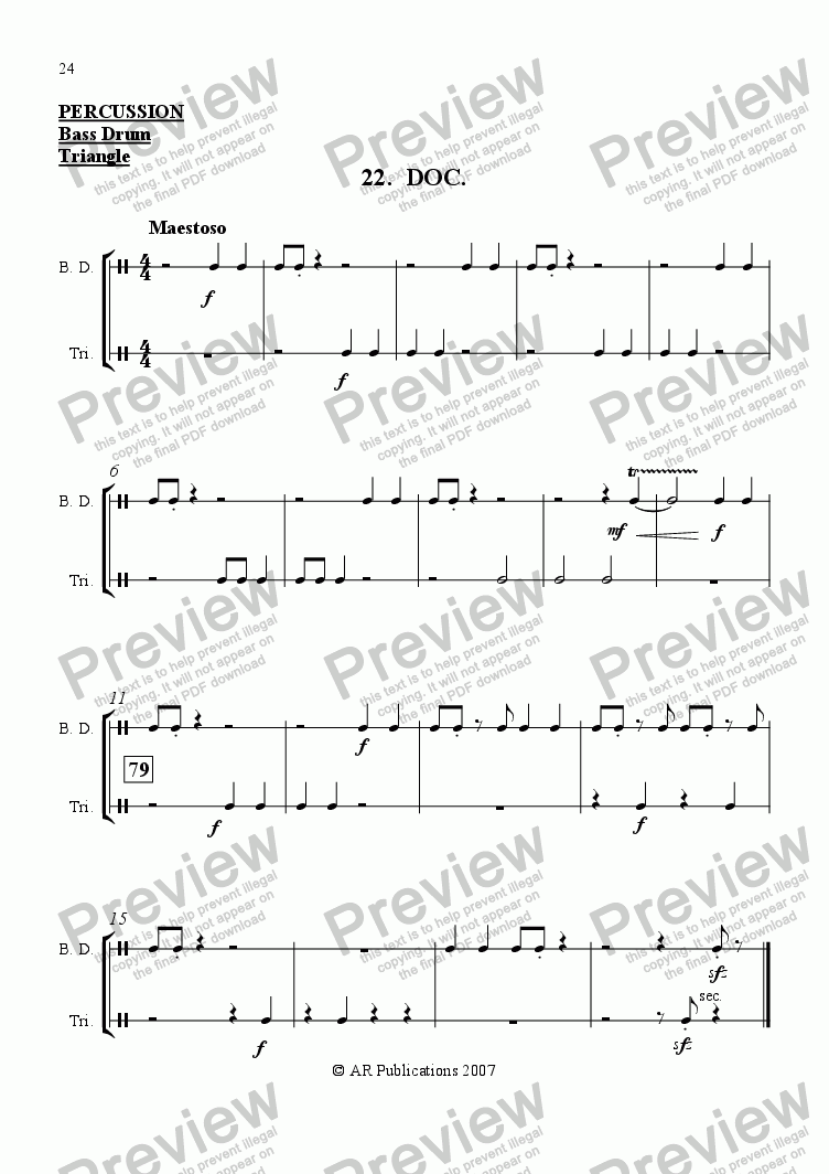 page one of the Percussion part from Ballet: Snow White (Act 3 #2 'Doc')