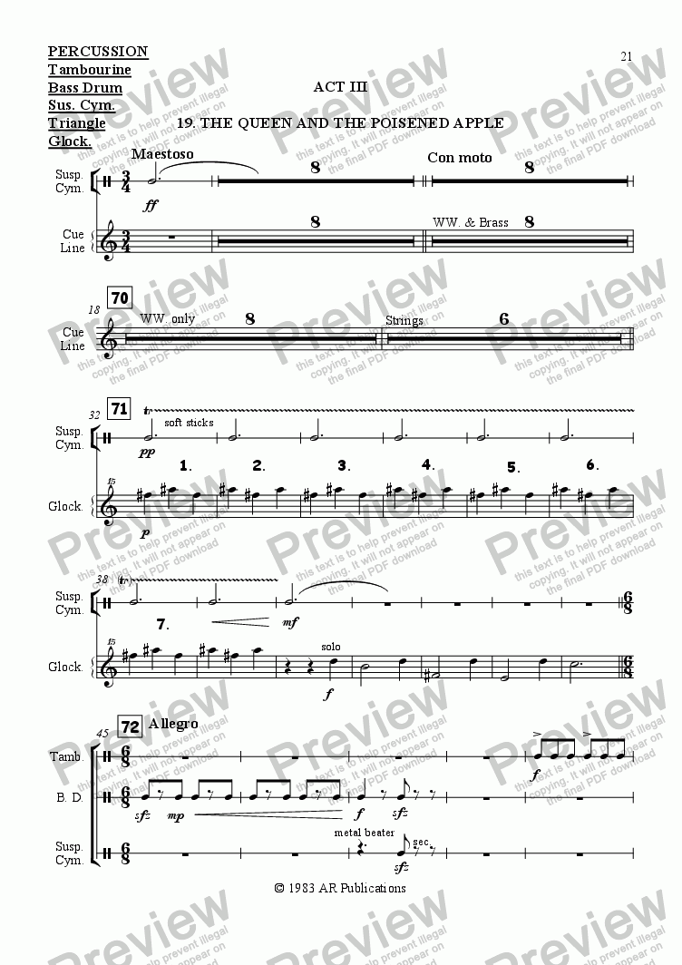 page one of the Percussion part from Ballet: Snow White (Act 3 #1 Poisoned Apple)