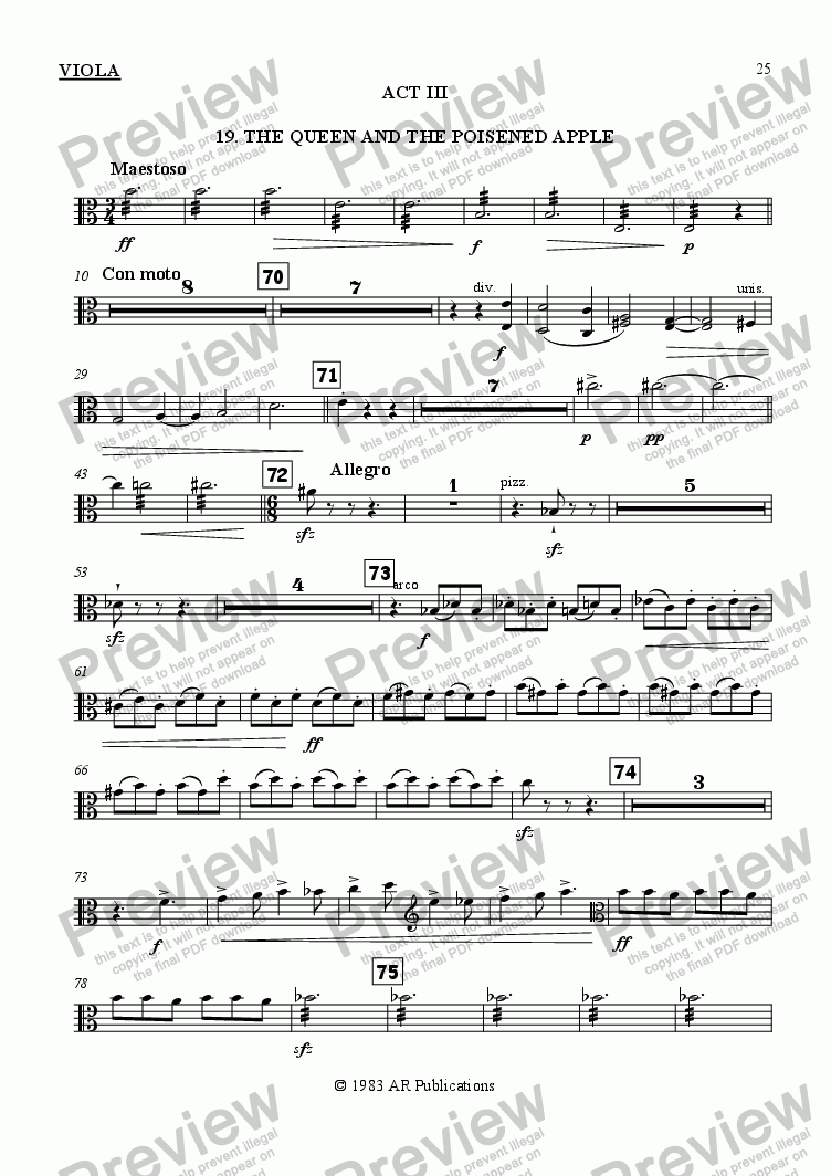 page one of the Viola part from Ballet: Snow White (Act 3 #1 Poisoned Apple)