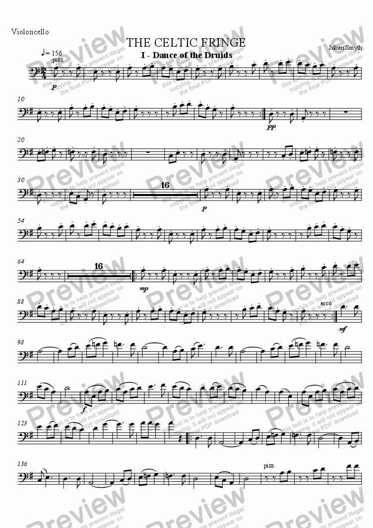 page one of the Cello part from Celtic Fringe - 1st Mvt - Dance of the Druids