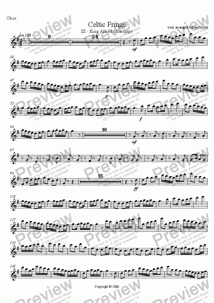 page one of the Oboe part from Celtic Fringe - 3rd Mvt - King Alfred's Hornpipe