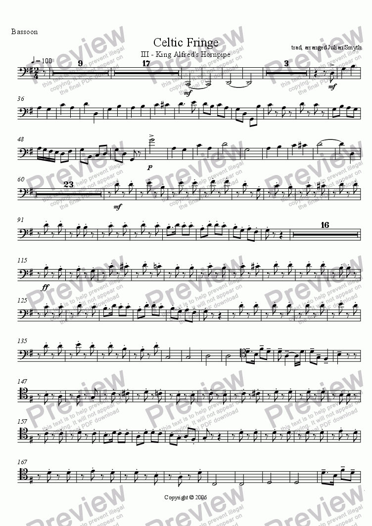 page one of the Bassoon part from Celtic Fringe - 3rd Mvt - King Alfred's Hornpipe