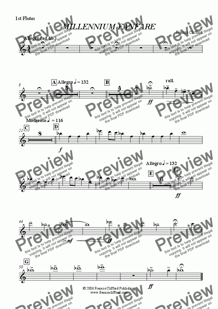 page one of the 1st Flutes part from Millennium Fanfare (Wind Band Version)
