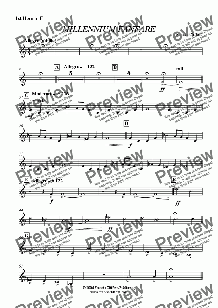 page one of the 1st Horn in F part from Millennium Fanfare (Wind Band Version)