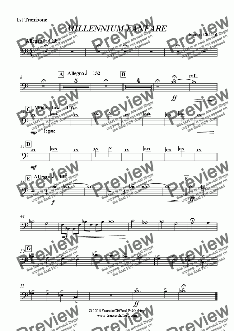 page one of the 1st Trombone part from Millennium Fanfare (Wind Band Version)