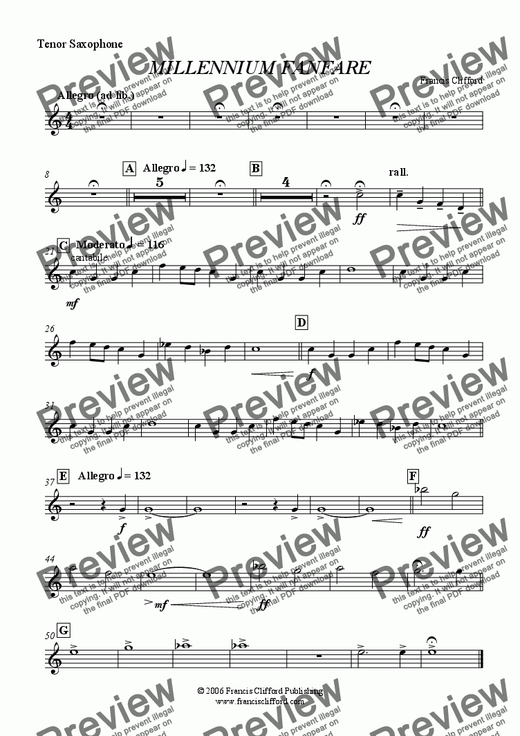 page one of the Tenor Saxophone part from Millennium Fanfare (Wind Band Version)