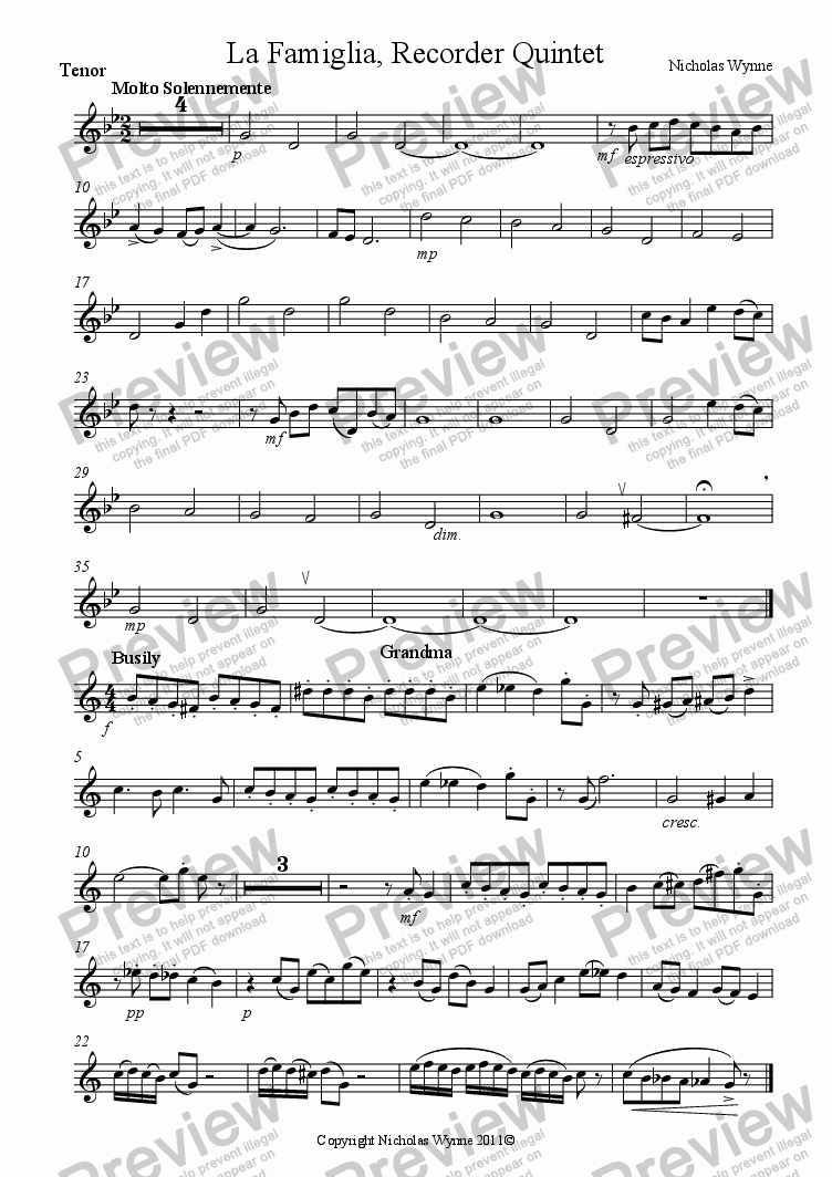 page one of the Tenor Recorder part from La Famiglia for Recorder Quintet