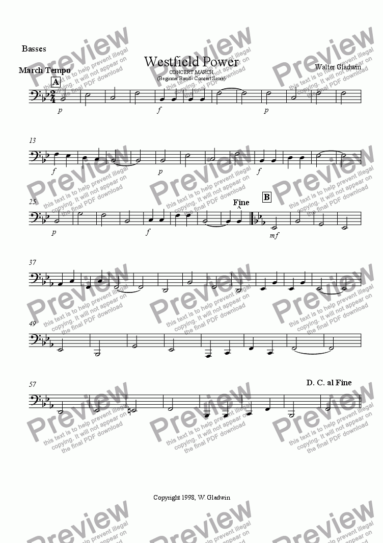page one of the Basses part from Westfield Power