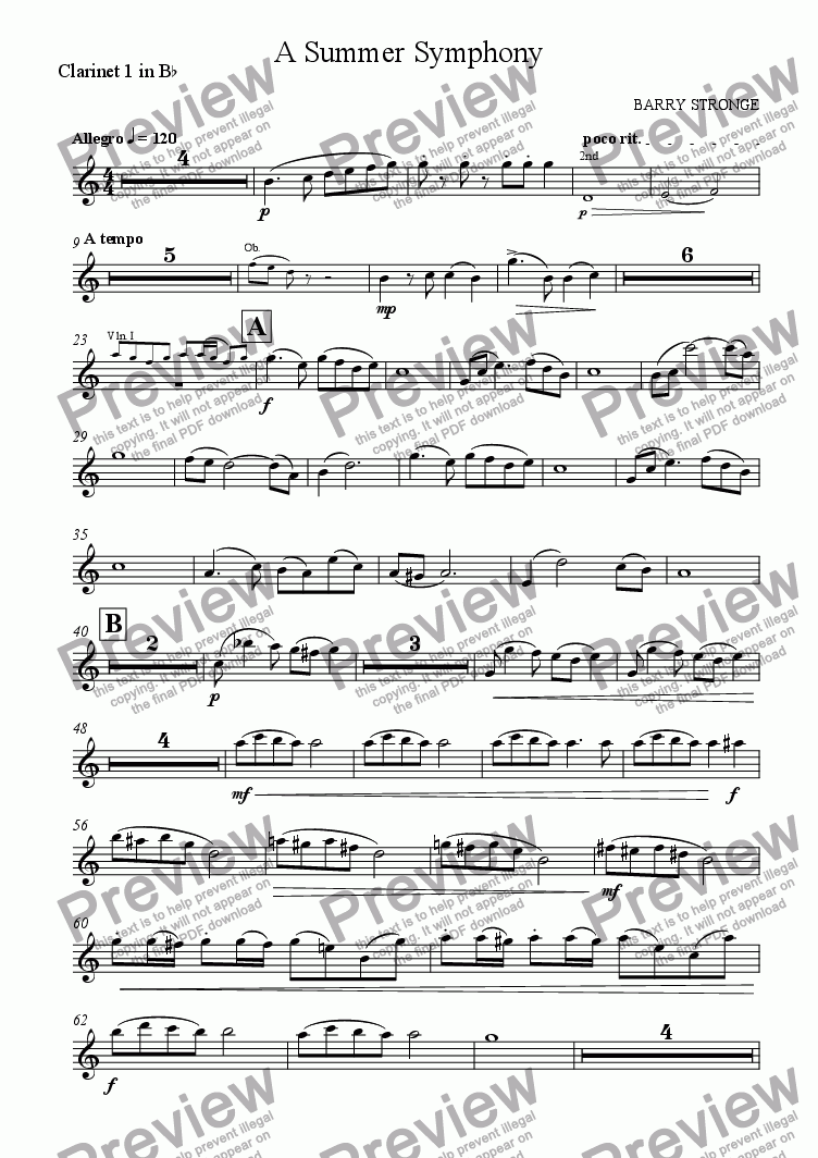 page one of the Clarinet 1 in Bb part from A Summer Symphony - Movt 1
