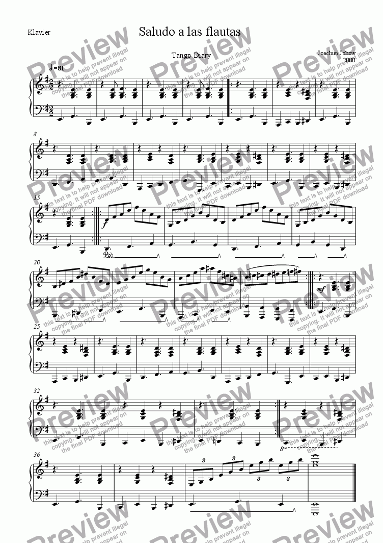 page one of the Piano part from Saludo a las flautas