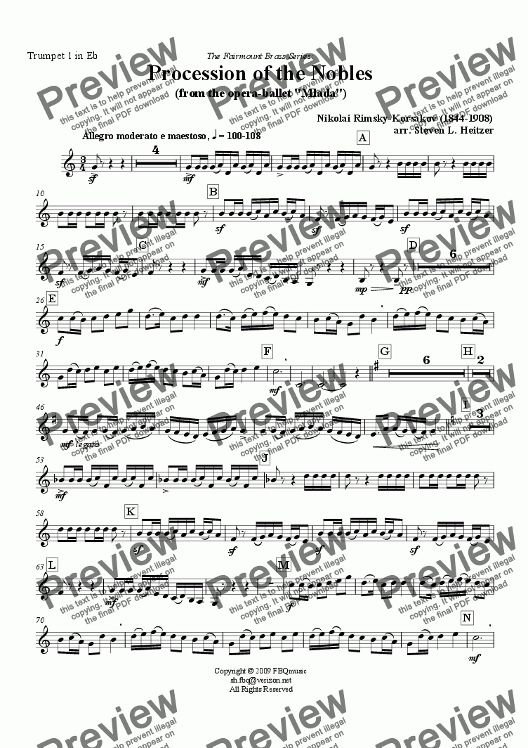page one of the Trumpet 1 in Eb part from Procession of the Nobles (from Mlada) - Brass QUINTET