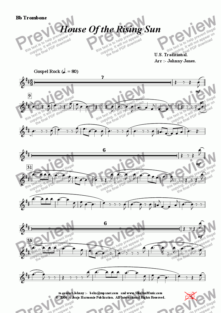 page one of the Bb Trombone part from House Of the Rising Sun  (Trombone and 4 Rhythm)