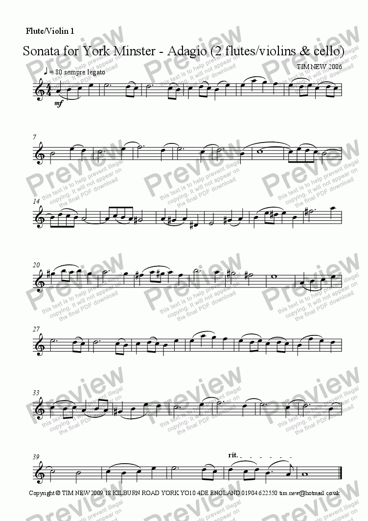 page one of the flute/violin 1 part from Sonata for York Minster - Adagio (2 flutes/violins & cello)