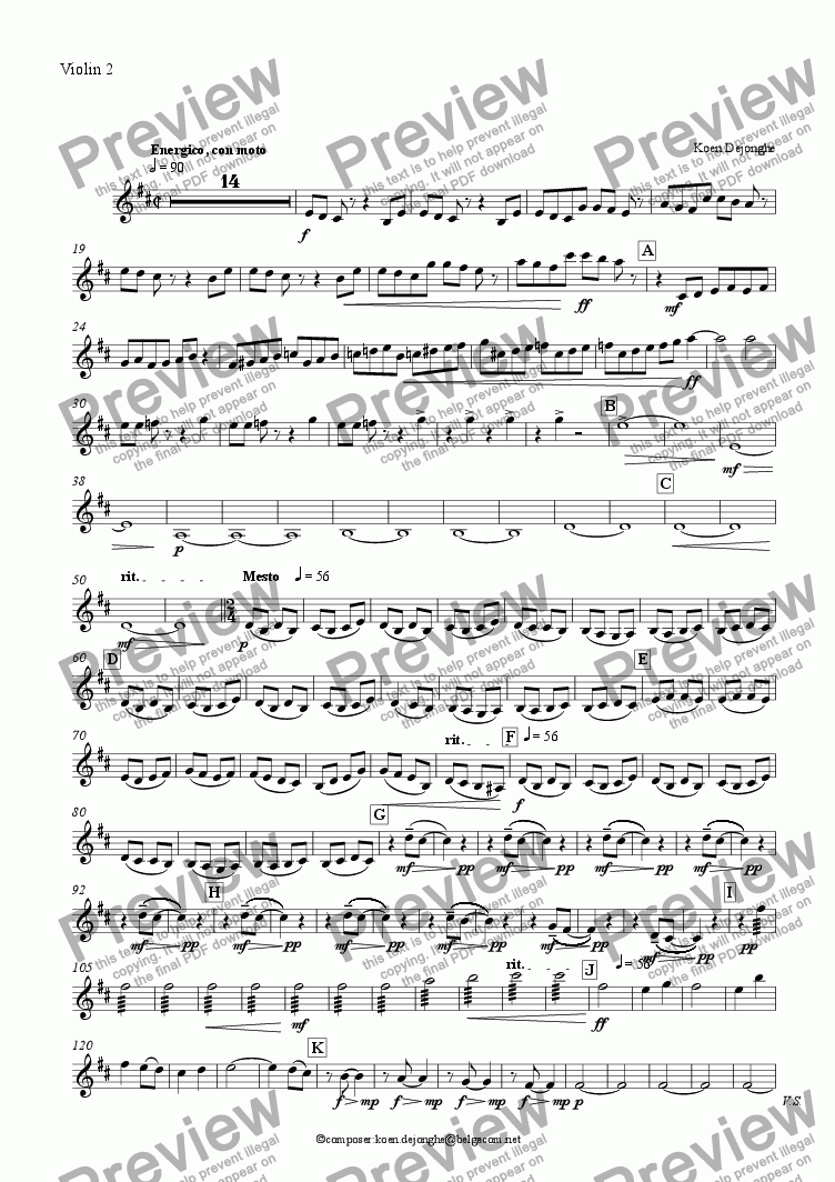 "page one of the Violin 2 part from ""Clarinetquintet"" for Clarinet and Stringquartet-""Moon Passion"" and ""Sun Passion"""