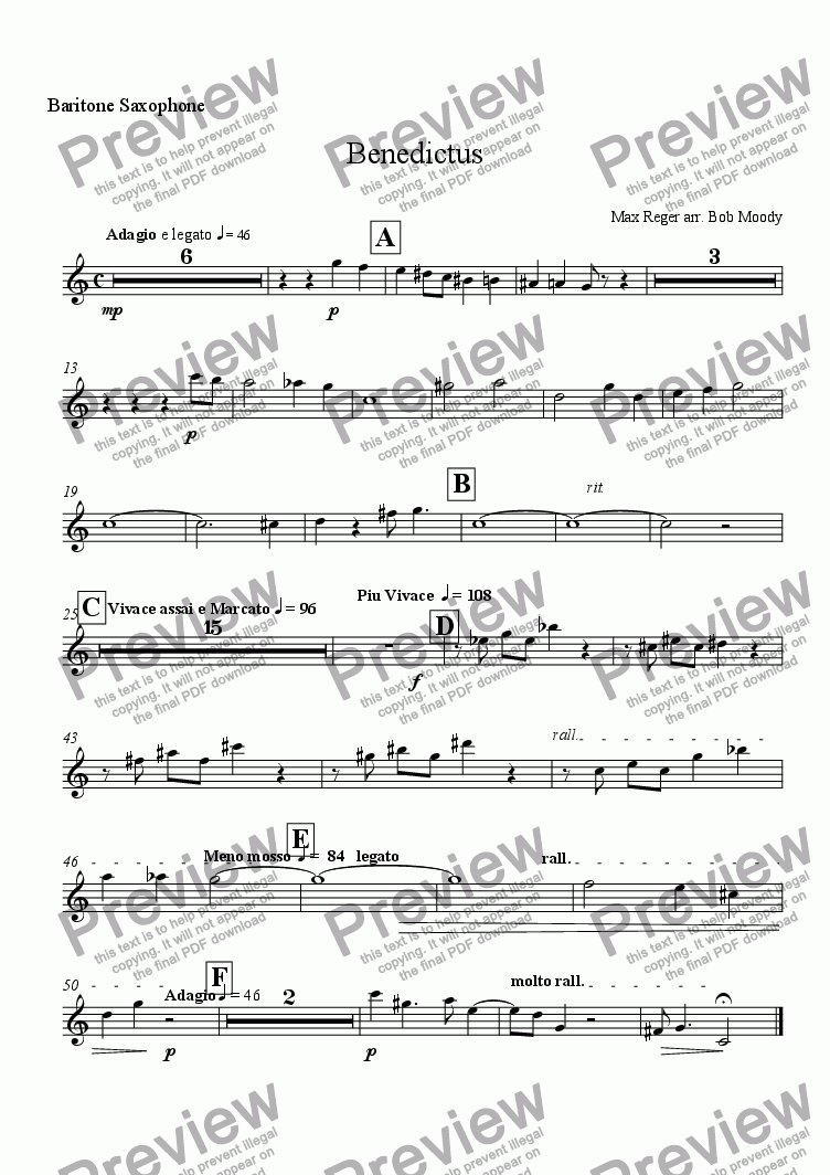 page one of the Baritone Sax part from Benedictus