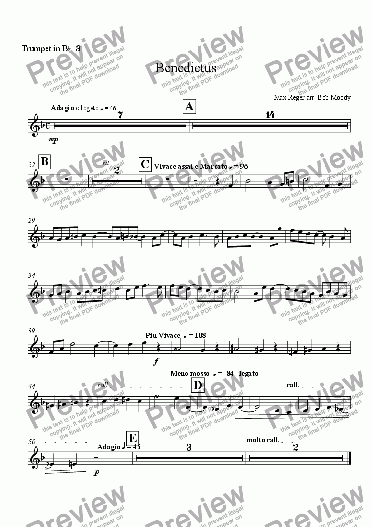 page one of the Trumpet 3 part from Benedictus