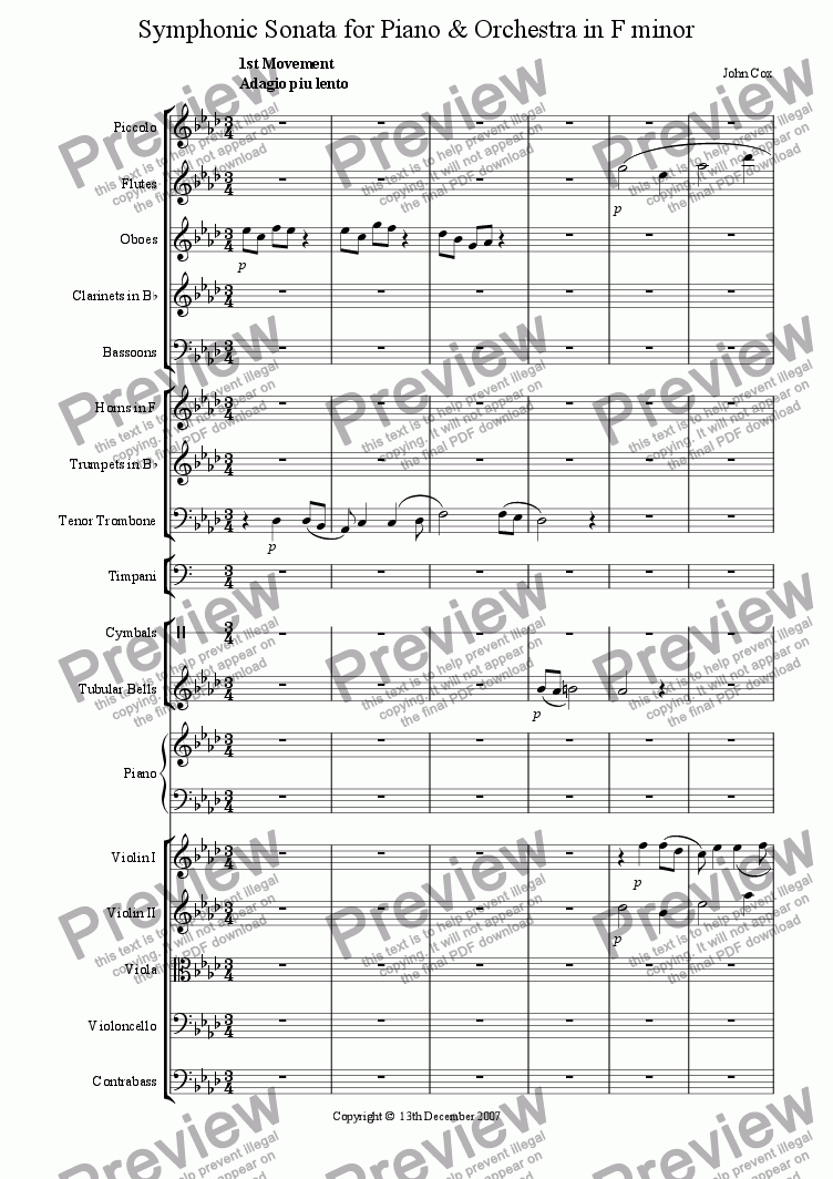 page one of the Flute part from Symphonic Sonata for Piano and Orchestra in F minor