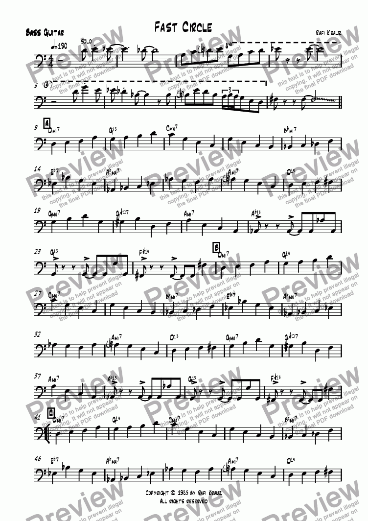 page one of the Bass part from Fast Circle