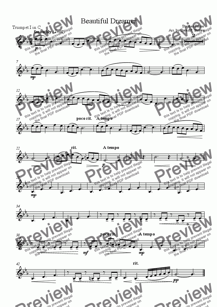 page one of the Trumpet I in C part from Beautiful Dreamer