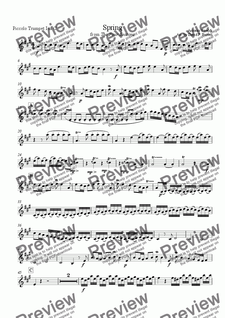 page one of the Piccolo Trumpet in C (alt. for A Picc) part from Four Seasons (Spring)
