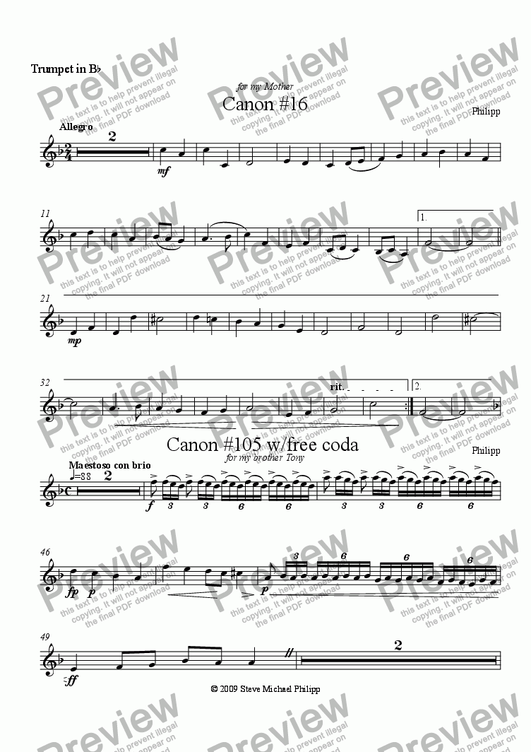 page one of the Trumpet 3 part from Two Canons for Trumpet Trio