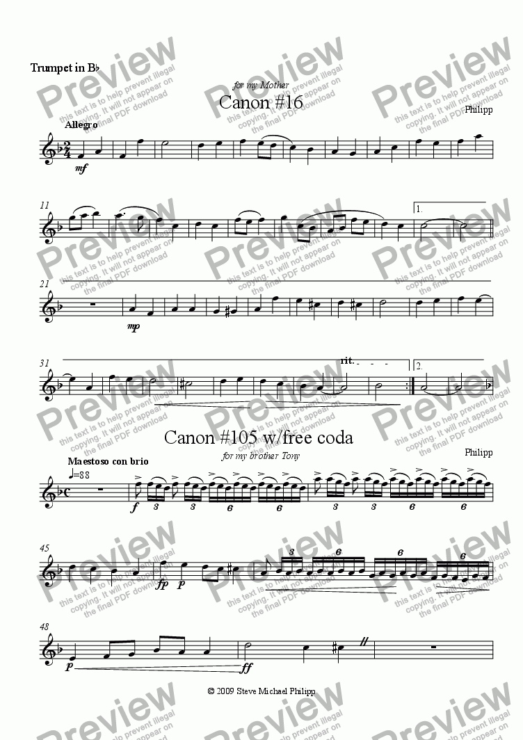 page one of the Trumpet 2 part from Two Canons for Trumpet Trio