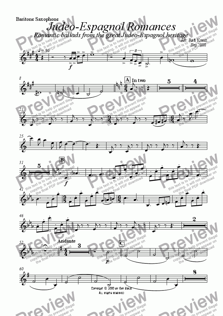 page one of the Baritone Sax part from Ladino - selections