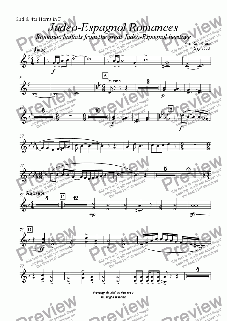 page one of the 2nd & 4th Horns part from Ladino - selections