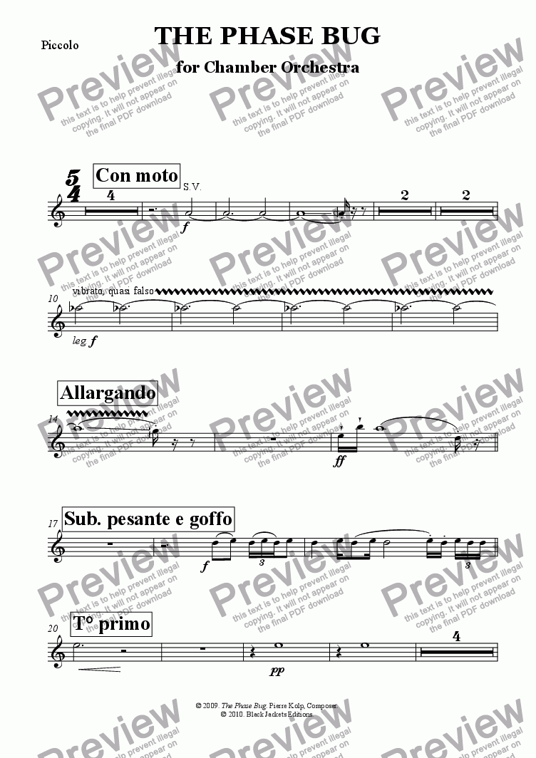 page one of the Piccolo part from The Phase Bug