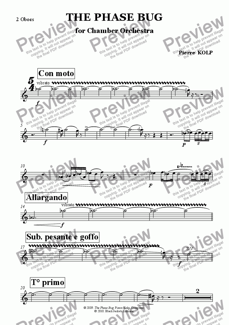 page one of the Oboe part from The Phase Bug