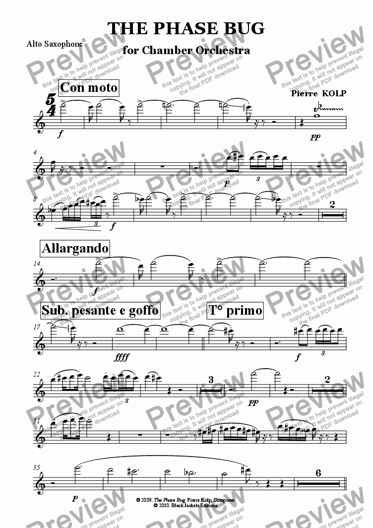 page one of the Alto Sax part from The Phase Bug