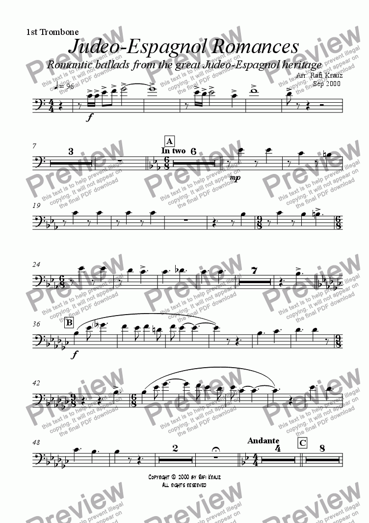 page one of the 1st Trombone part from Ladino - selections