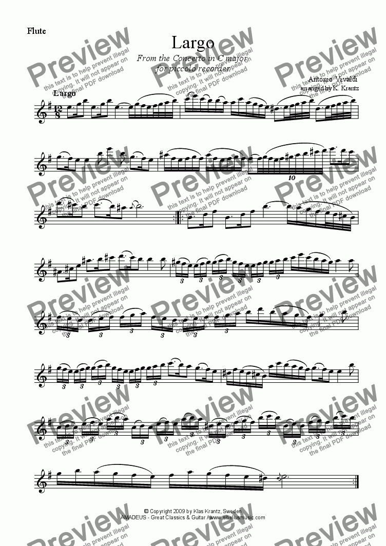 page one of the flute part from Largo from the Concerto in C major for flute and guitar