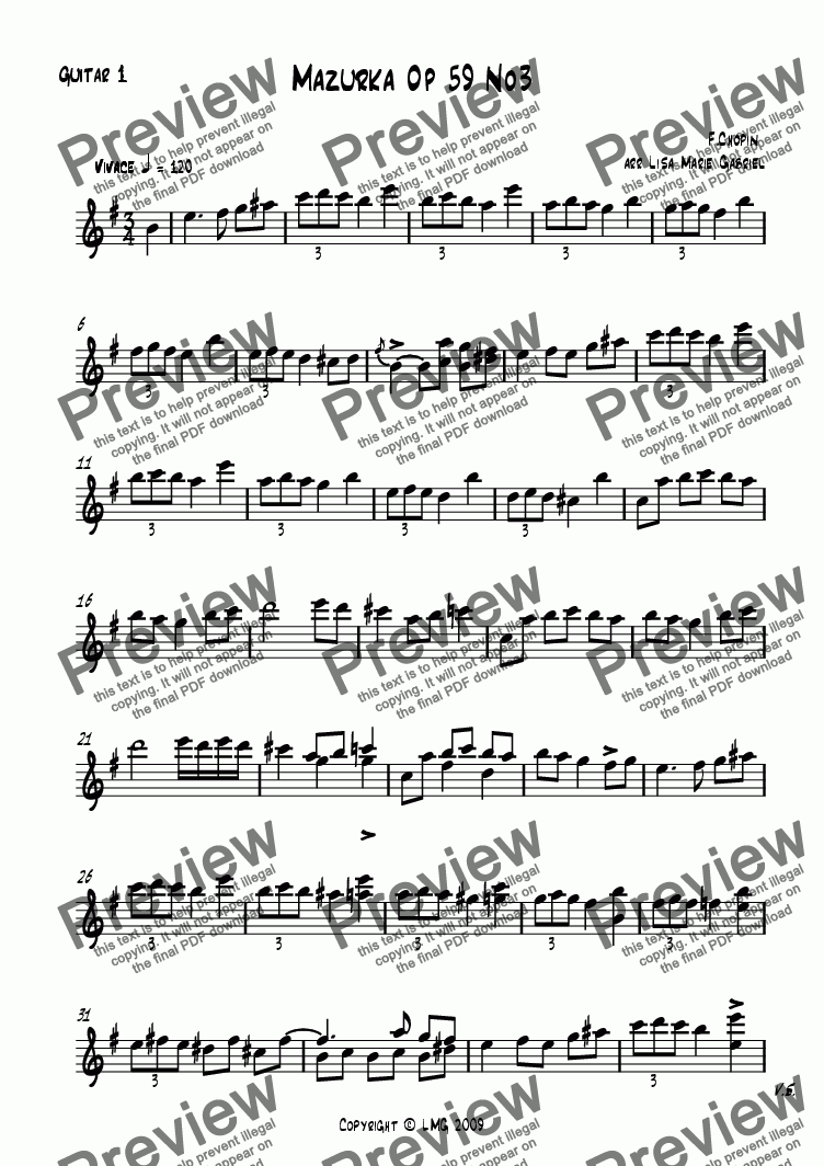 page one of the Guitar 1 Notation part from Mazurka Op 59 No3 by Chopin - arr guitar duet